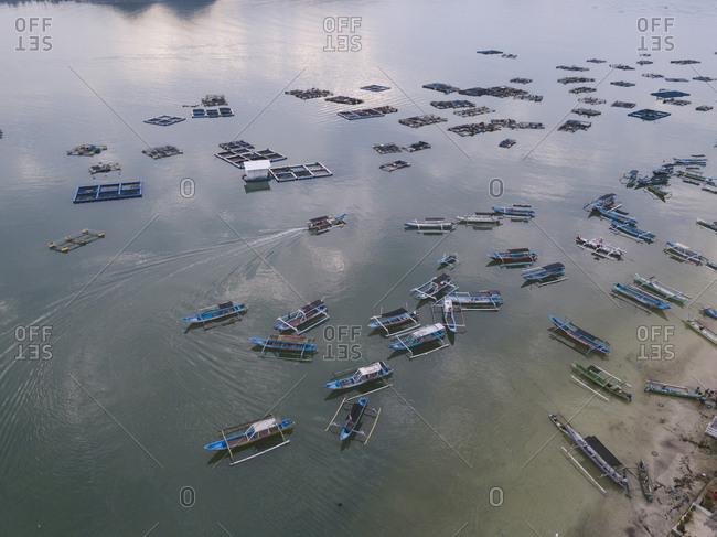 April 29, 2019:Aerial view of road at ocean coastline, Sumbawa Island, Indonesia