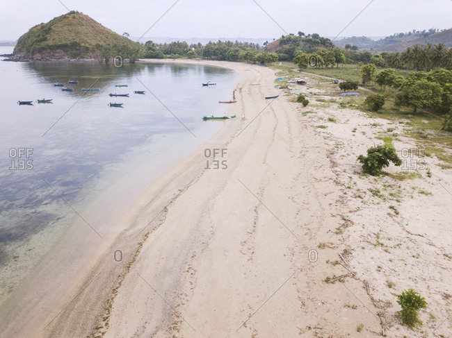 Aerial view of beach, Lombok, Indonesia