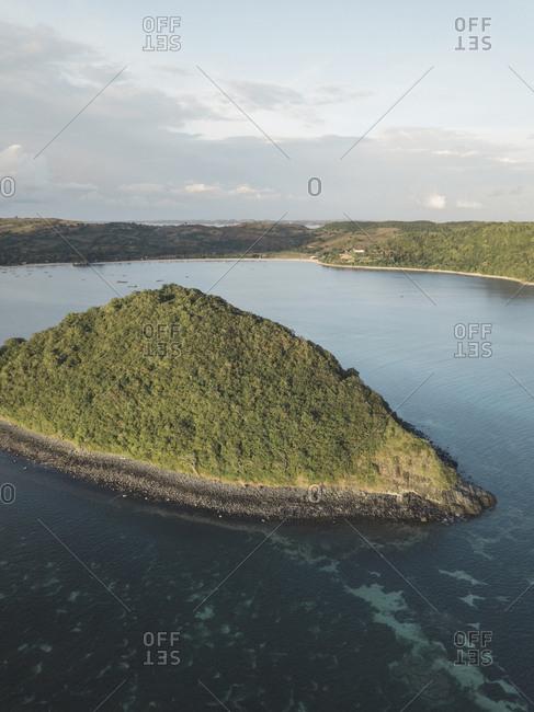 Aerial view of small island near Lombok coastline, Indonesia
