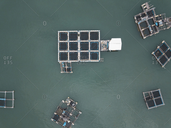 Lobster farm, view from above, Lombok, Indonesia