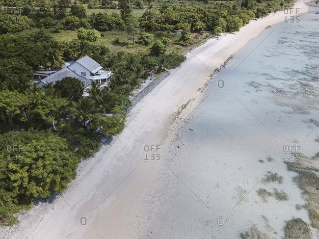 Aerial view of house at coast, Sumbawa, Indonesia