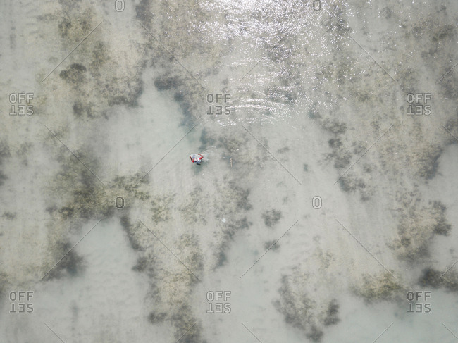 Aerial view of fisherman with net, Sumbawa, Indonesia