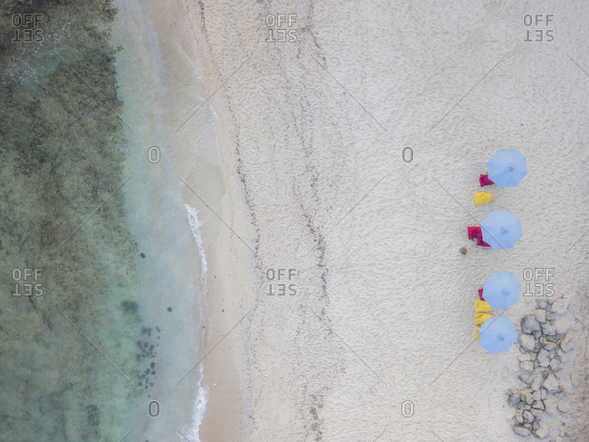 Aerial view of sun loungers, Lombok, Indonesia