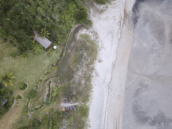 Aerial view of house at the beach, Sumbawa, Indonesia
