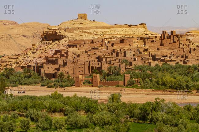 Ouarzazate, Morocco. Ait Ben Haddou, desert and palm trees