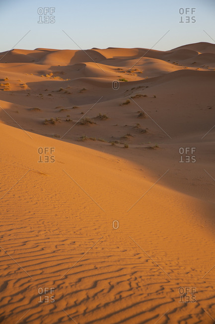 Merzouga, Erg Chebbi, Sahara Desert. Sand dunes, shadows