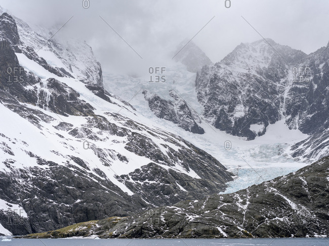 Glaciers of Drygalski Fjord at the southern end of South Georgia.