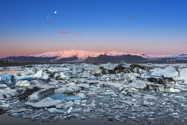 Iceland, Jokulsarlon Glacier. Autumn sunrise on glacier.