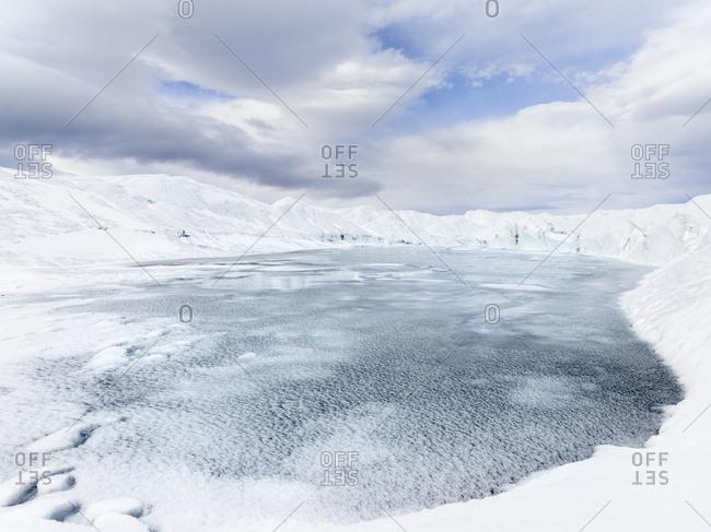 Landscape on the Greenland Ice Sheet near Kangerlussuaq, Greenland, Denmark