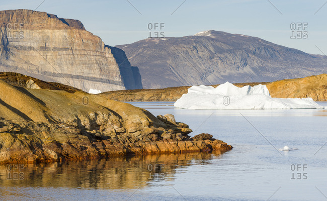 Landscape with icebergs in the Uummannaq fjord system, northwest Greenland.
