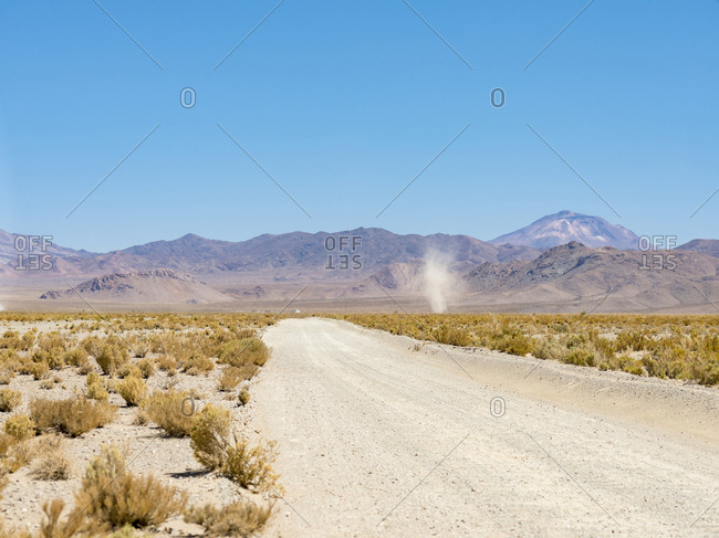 The track RN 38. Landscape near Salinas Grandes salt flats in the Altiplano, Argentina.