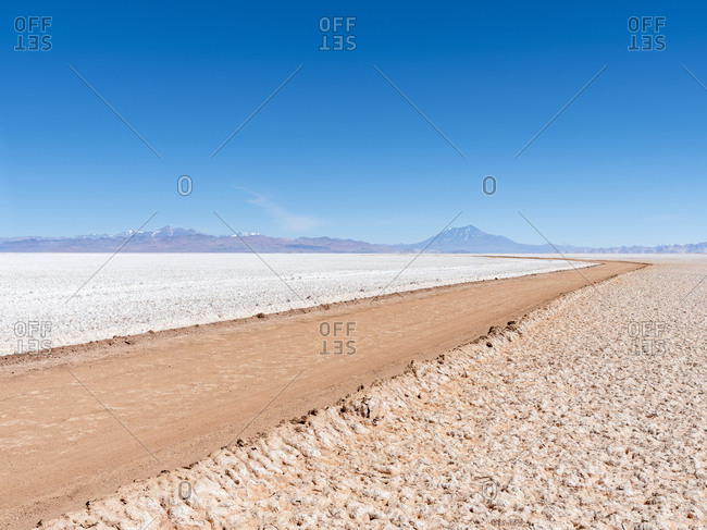 Salar de Arizaro, one of the largest salt flats in the world. The Altiplano near Tolar Grande village, close to the border to Chile. Argentina.