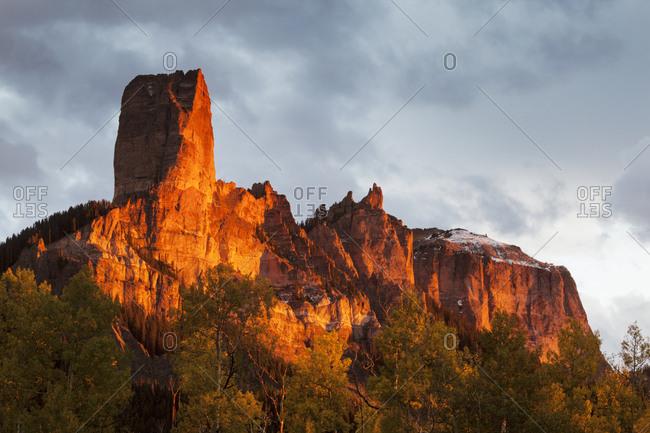 USA, Colorado, San Juan Mountains. Chimney Rock formation.