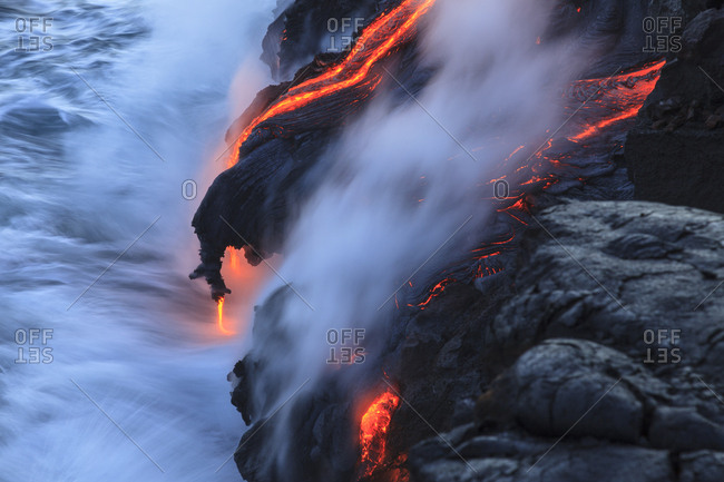 Kilauea lava flow near former town of Kalapana, Big Island, Hawaii, USA