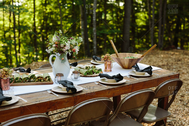 Table set for outdoor entertaining