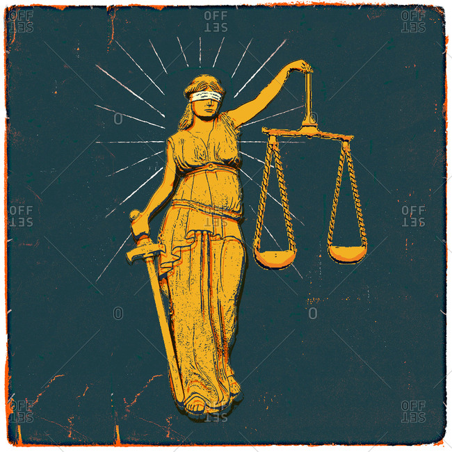 Lady Justice standing against a blue vintage background