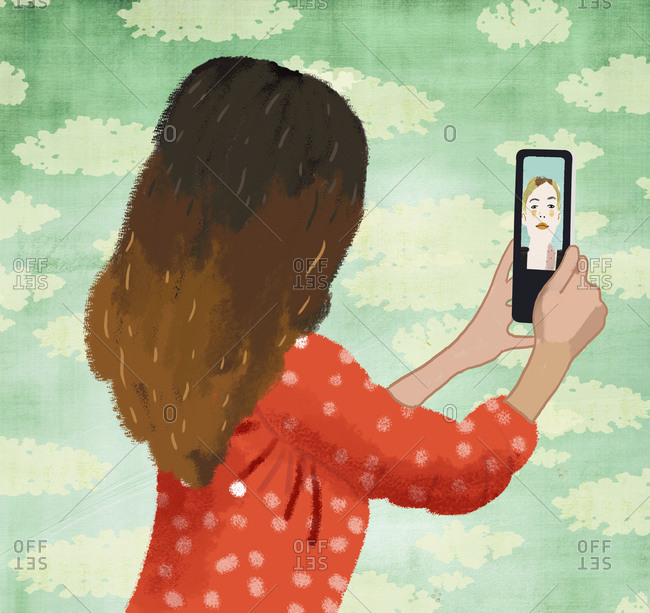 Illustration of a girl seen from the back chatting with mother on cell phone.