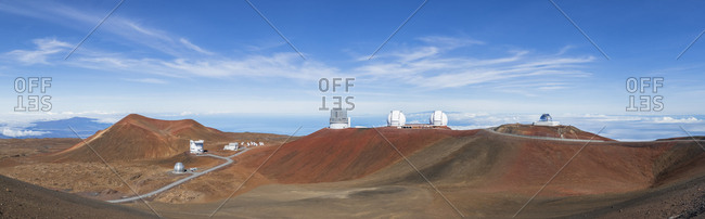 October 4,  2018: USA- Hawaii- Big Island- Volcano Mauna Kea- Mauna Kea Observatories- James Clerk Maxwell Telescope- Smithsonian Submillimeter Array- Subaru Telescope- Keck Observatory and NASA Infrared Telescope Facility