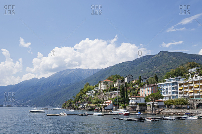 August 8,  2018: Switzerland- Ascona- Lake Maggiore- lakeshore