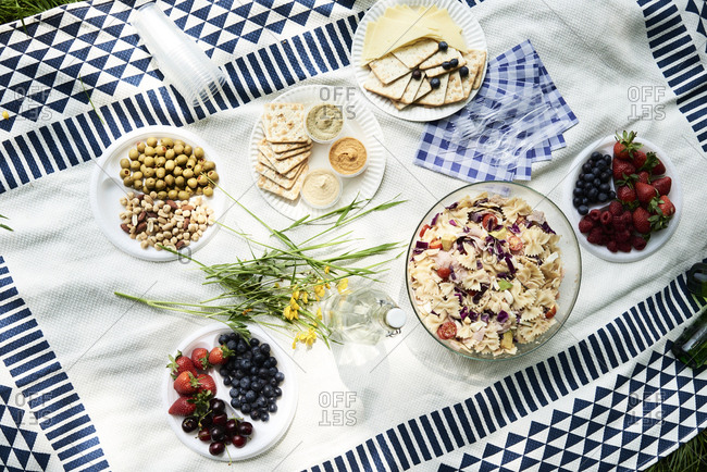 Top view of healthy picnic snacks on a blanket