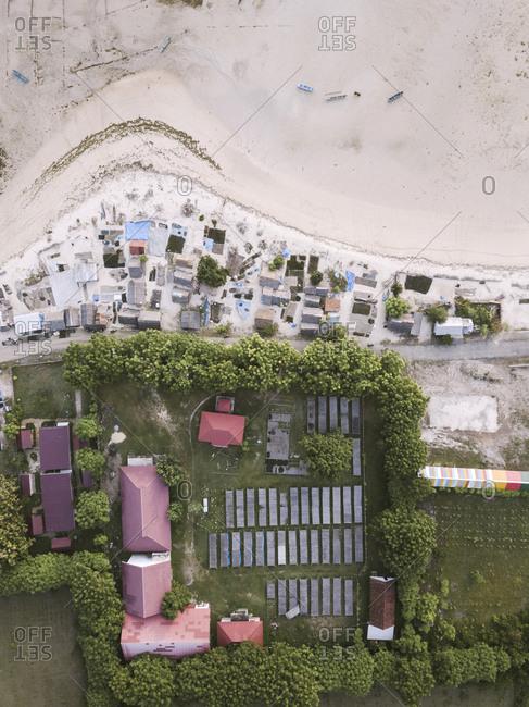 Indonesia- Sumbawa- Kertasari- Aerial view of algae drying area