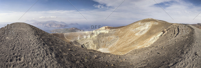 Aeolian Islands- Volcano- Panoramic view from volcano- Gran Cratere