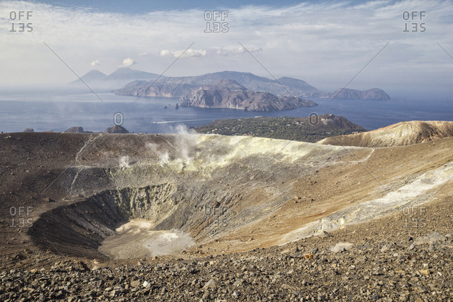 Aeolian Islands- Volcano- Panoramic view from volcano