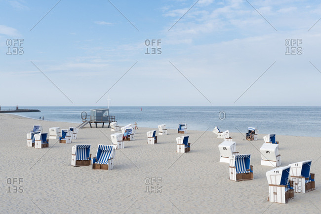 June 16, 2018: Germany- Sylt- North Sea- sandy beach with hooded beach chairs