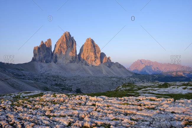 Italy- Sexten Dolomites- Tre Cime di Lavaredo at sunrise- Nature Park Tre Cime- Unesco World Heritage Natural Site