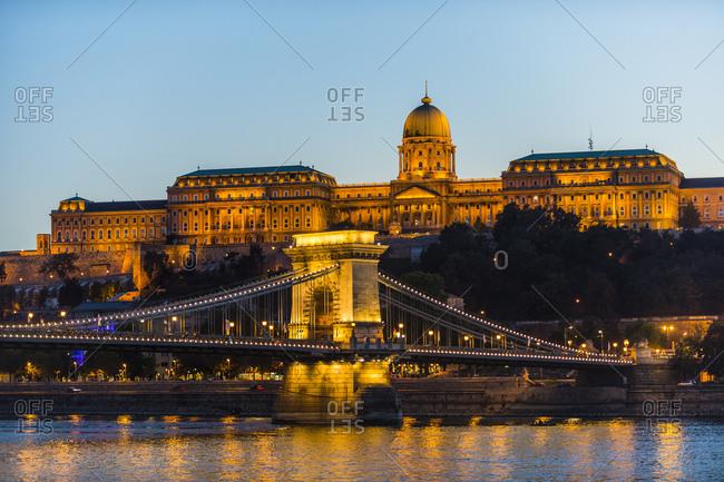 October 2,  2015: Hungary- Budapest- Buda Castle and chain bridge at dusk