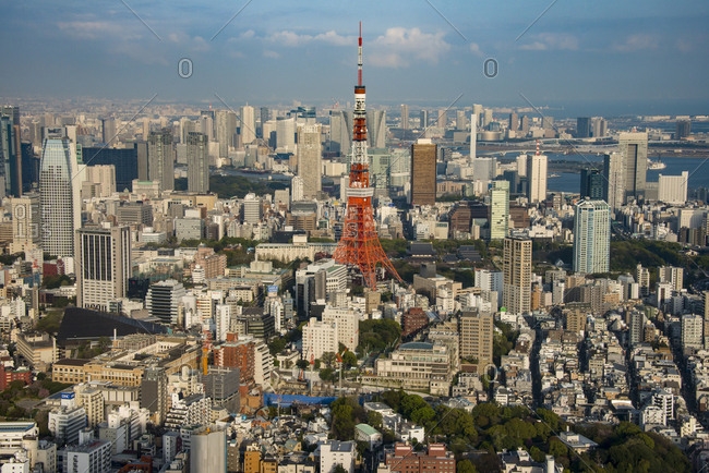 April 5,  2013: Japan- Tokyo- cityscape with Tokyo Tower seen from Roppongi Hills