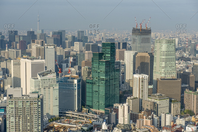 April 5,  2013: Japan- Tokyo- cityscape seen from Roppongi Hills
