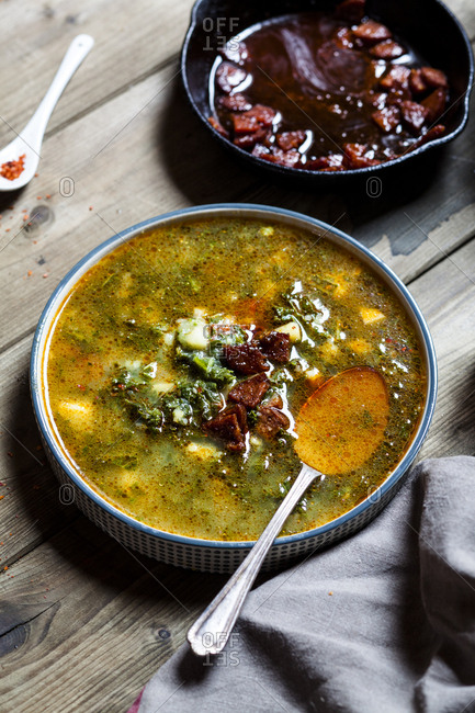 Caldo verde- soup with green cabbage- chorizo and potato