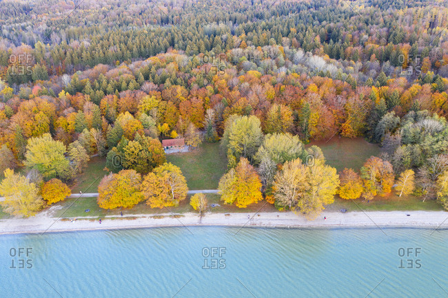 Germany- Bavaria- lakeshore of Lake Starnberg- Fuenfseenland- local recreation area Ambach- aerial view