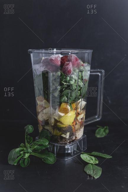 Ingredients of vegetable fruit smoothie