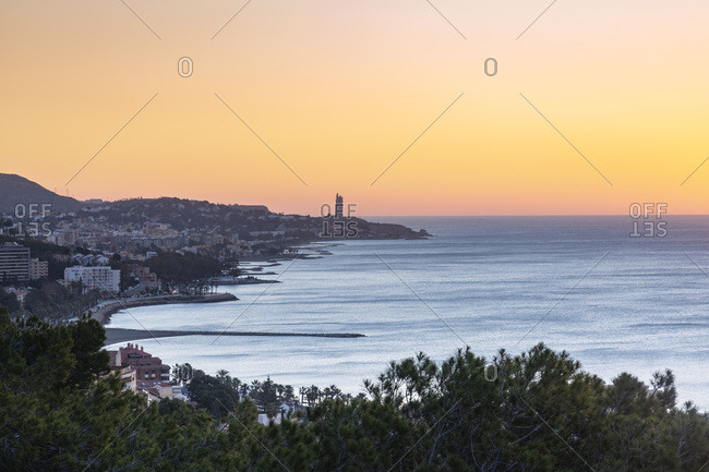Spain- Malaga- view from the view point of Gibralfaro by the castle by sunrise
