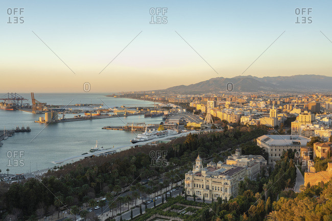 January 28,  2019: Spain- Malaga- view over the harbor and the townhall by sunrise