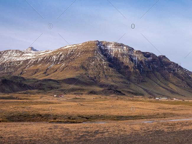 Iceland- Austurland- landscape with mountain on the way to Egilsstadir