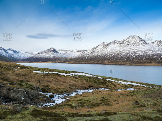 Iceland- Austurland- landscape with Atlantic Ocean and mountains on the way to Egilsstadir