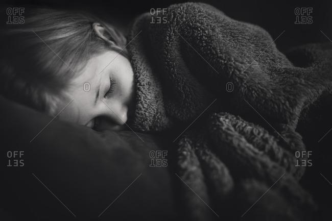 sick girl taking a nap