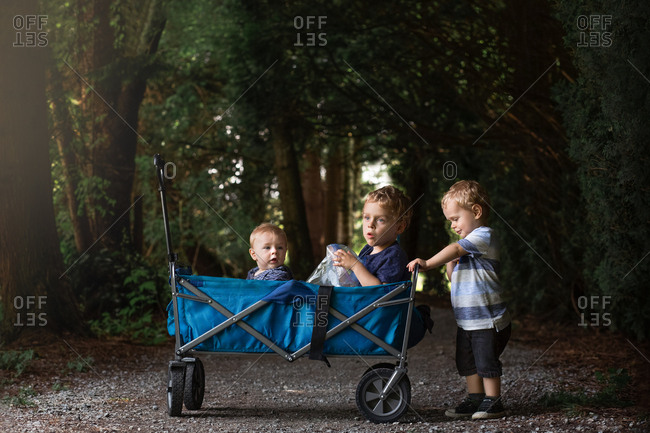 Three young boys with wagon pushing each other through a path in a dark forrest.