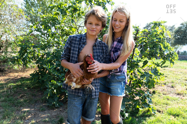 Teen boy and girl in checkered shirts and denim shorts smiling and petting hen while standing near green bushes on sunny day on farm