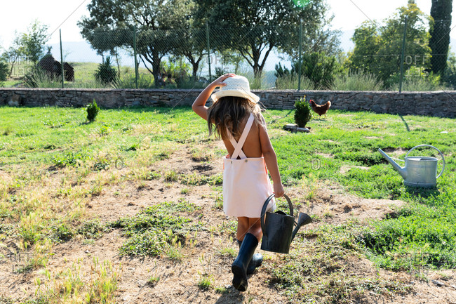Little girl in dress and hat watering small bush while helping in garden on sunny day on farm