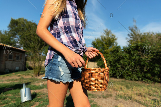 young girl on sunny day on ranch feeding chickens
