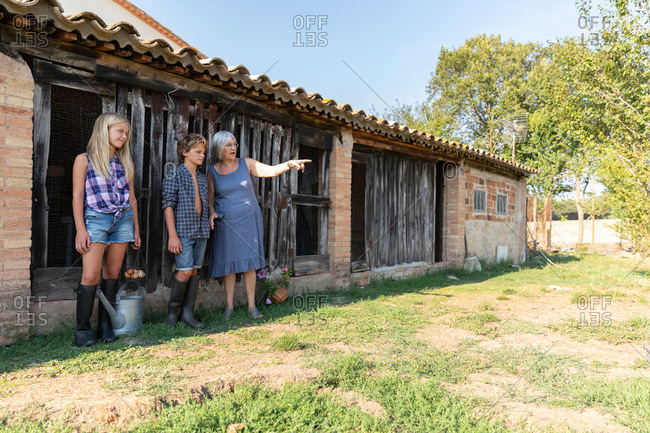 Grandmother standing near grandchildren on sunny day on ranch
