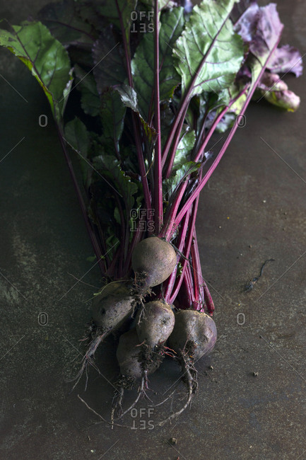 Bunch of fresh ripe beetroots with green leaves placed on gray surface