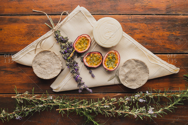 Natural soaps on the table