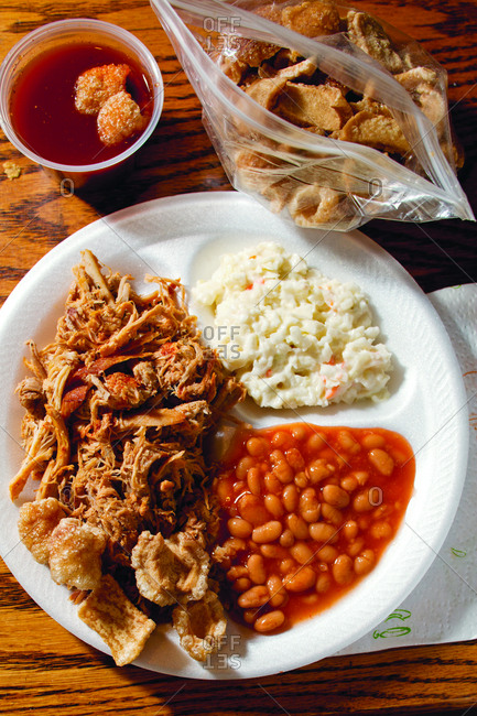 Overhead view of fresh homemade meal served in plate on table