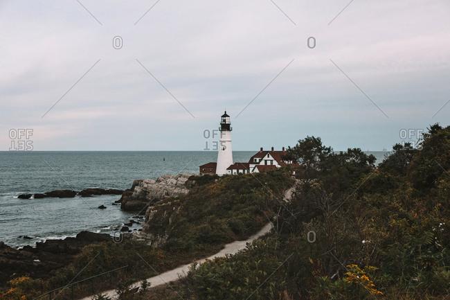East coast lighthouse in Portland Maine