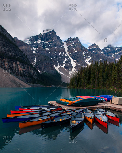 Alberta, Canada - June 24, 2018: Moraine lake canoes